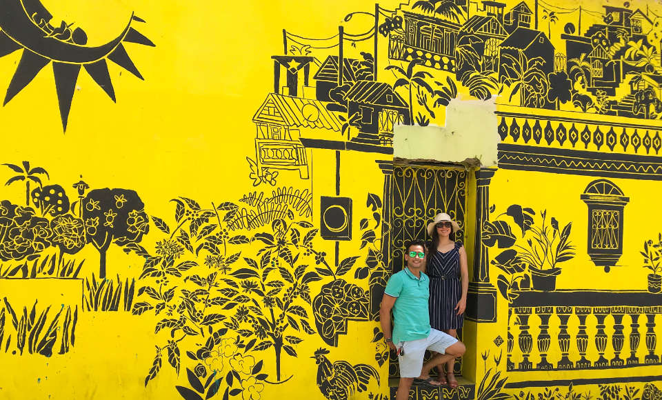 Yellow and blak mural